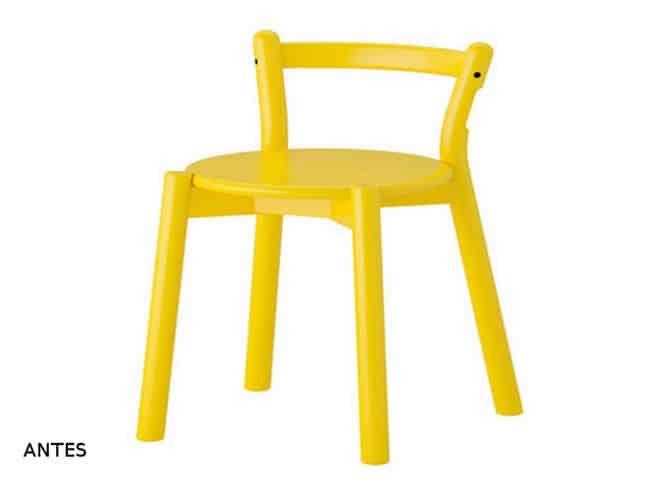 el antes de ikea ps taburete amarillo personalizado